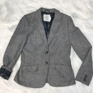 H&M LOGG Grey wool tweed blazer elbow patches 8